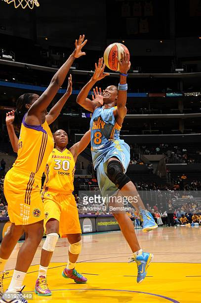Swin Cash of the Chicago Sky attempts a shot during a game against the Los Angeles Sparks at Staples Center on September 13 2012 in Los Angeles...