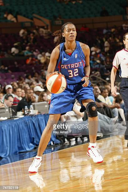 Swin Cash of the Detroit Shock handles the ball during a game against the New York Liberty at Madison Square Garden on June 8 2007 in New York New...