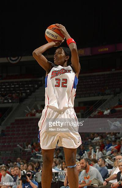 Swin Cash of the Detroit Shock puts a shot up in Game three of the Eastern Conference Semifinals during the 2003 WNBA Playoffs against the Cleveland...