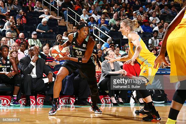 Swin Cash of the New York Liberty handles the ball against the Chicago Sky on June 24 2016 at Madison Square Garden in New York New York NOTE TO USER...