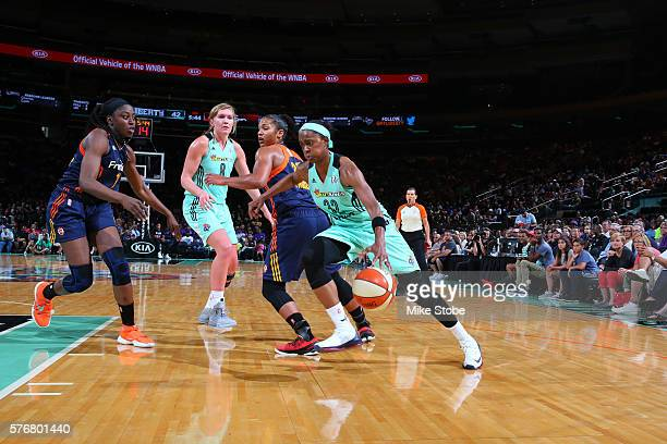 Swin Cash of the New York Liberty handles the ball against the Connecticut Sun on July 17 2016 at Madison Square Garden in New York City New York...