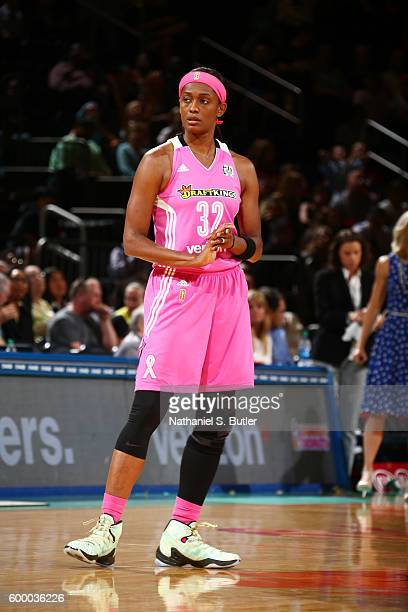 Swin Cash of the New York Liberty looks on during the game against the Seattle Storm on September 7 2016 at Madison Square Garden in New York New...