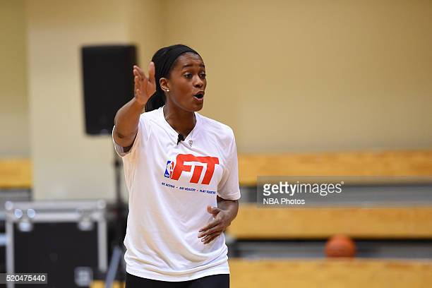Swin Cash of the New York Liberty runs drills during an NBA FIT Clinc on April 6 2016 at Dick's Sporting Goods in Coraopolis Pennsylvania NOTE TO...