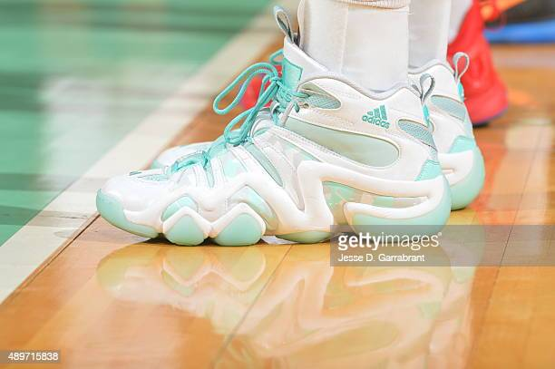 Swin Cash of the New York Liberty showcases her sneakers against the Indiana Fever during game One of the WNBA Eastern Conference Finals at Madison...