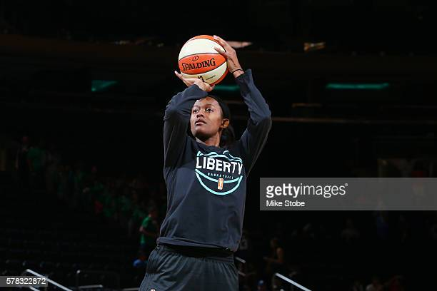 Swin Cash of the New York Liberty warms up before the game against the Indiana Fever on July 21 2016 at Madison Square Garden in New York New York...
