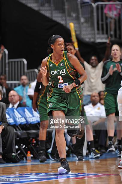 Swin Cash of the Seattle Storm celebrates against the Atlanta Dream in Game Three of the 2010 WNBA Finals on September 16 2010 at Philips Arena in...