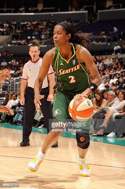 Swin Cash of the Seattle Storm drives to the basket during the game against the Los Angeles Sparks on June 28 2009 at Staples Center in Los Angeles...