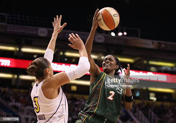 Swin Cash of the Seattle Storm puts up a shot over Diana Taurasi of the Phoenix Mercury in Game Two of the Western Conference Finals during the 2010...