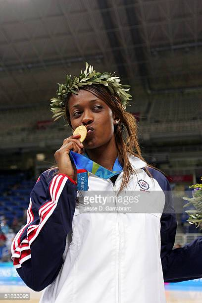 Swin Cash of the USA against Australia during the women's basketball final game on August 28 2004 during the Athens 2004 Summer Olympic Games at the...