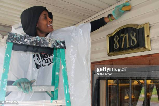 Swin Cash participates during the NBA Cares Day of Service as part of 2017 AllStar Weekend at the KaBOOM Rebuilding Together at William Heart School...