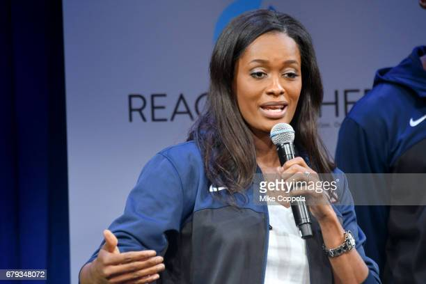 Swin Cash speaks onstage during the MTV's 2017 College Signing Day With Michelle Obama at The Public Theater on May 5 2017 in New York City