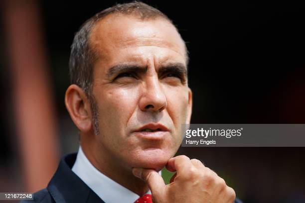 Swindon manager Paolo di Canio looks on prior to the npower League Two match between Swindon Town FC and Oxford United at the County Ground on August...