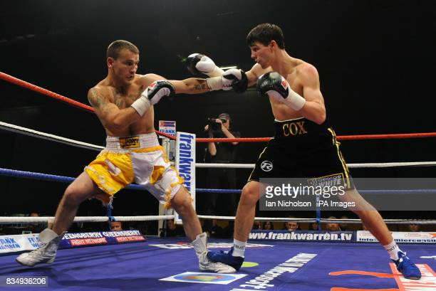 Swindon Middleweight Jamie Cox against Worcestershire's Ernie Smith at the London ExCeL Arena