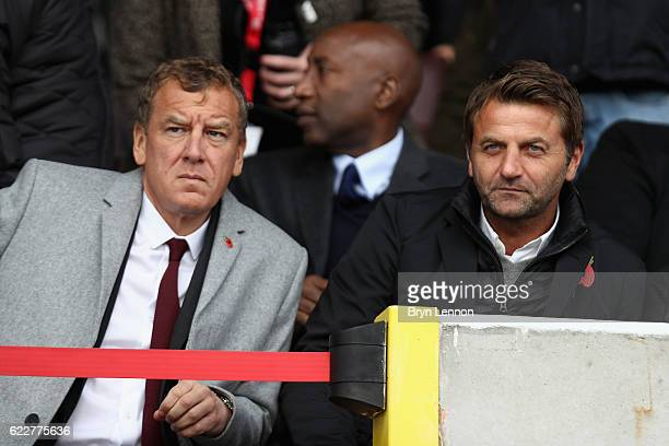 Swindon Town Chairman Lee Power and Director of Football Tim Sherwood look on prior to the Sky Bet League One match between Swindon Town and Charlton...