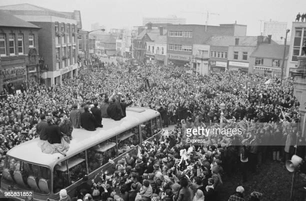 Swindon Town FC soccer player are welcomed by the crowd after winning Football League Cup, Swindon, UK, 17th March 1969; .