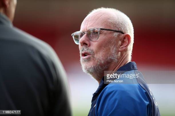 Swindon Town first Team Coach Tommy Wright looks on prior to the Sky Bet League Two match between Swindon Town and Northampton Town at The County...
