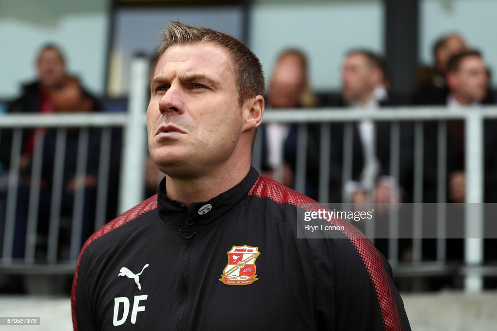 Swindon Town Manager David Flitcroft looks on during The Emirates FA Cup first round match between Dartford and Swindon Town at the Princes Park Stadium on November 5, 2017 in Dartford, England.