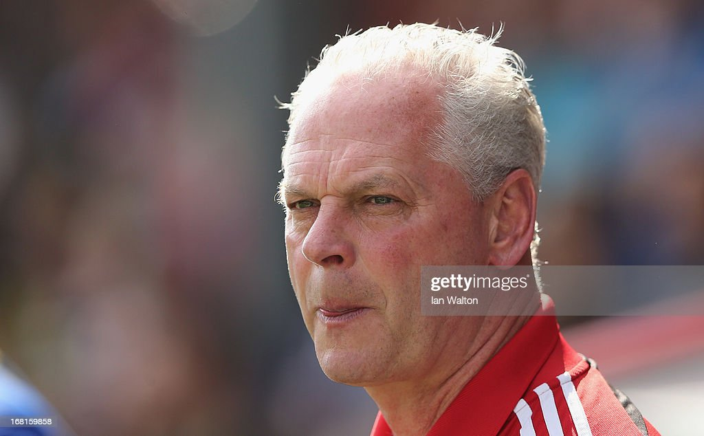Swindon Town manager Kevin MacDonald during the npower League One Play Off Semi Final, Second Leg match between Brentford and Swindon Town at Griffin Park on May 6, 2013 in Brentford, England.