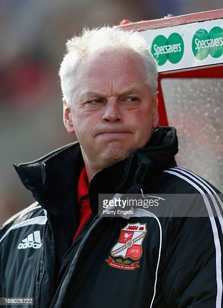 Swindon Town manager Kevin MacDonald looks on prior to the npower League One Play Off Semi Final match between Swindon Town and Brentford at the...