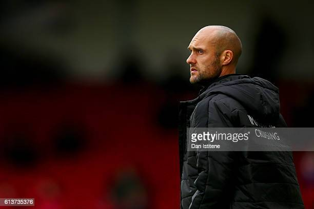 Swindon Town manager Luke Williams looks on during the Sky Bet League One match between Swindon Town and Bolton Wanderers at County Ground on October...