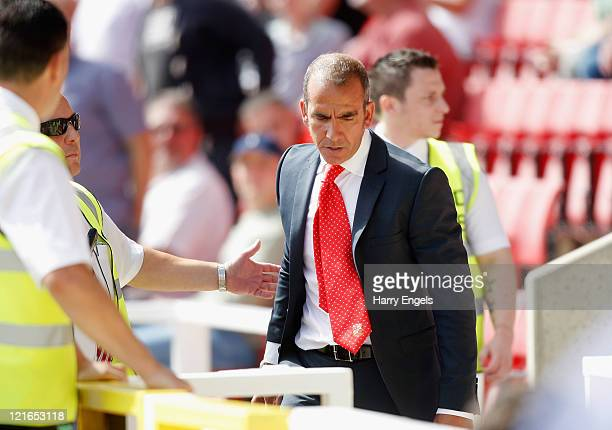 Swindon Town manager Paolo di Canio is sent to the stands during the npower League Two match between Swindon Town FC and Oxford United at the County...