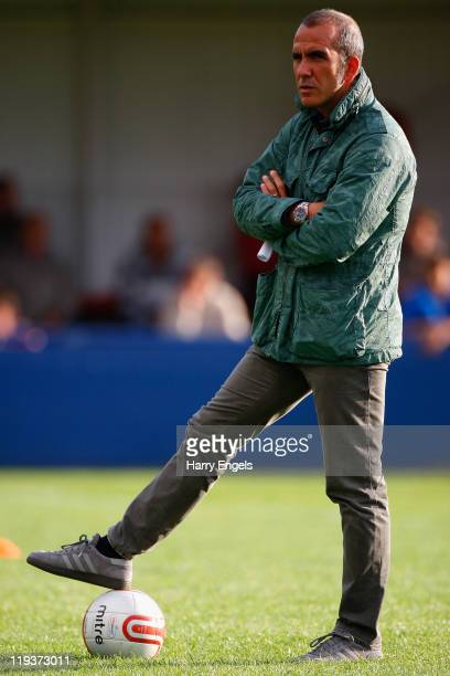 Swindon Town manager Paolo Di Canio looks on prior to the Pre Season Friendly match between Swindon Supermarine and Swindon Town at Swindon...