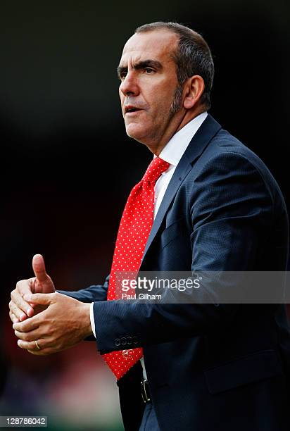 Swindon Town manager Paulo Di Canio looks on from the bench during the npower League Two match between Swindon Town and Hereford United at the County...