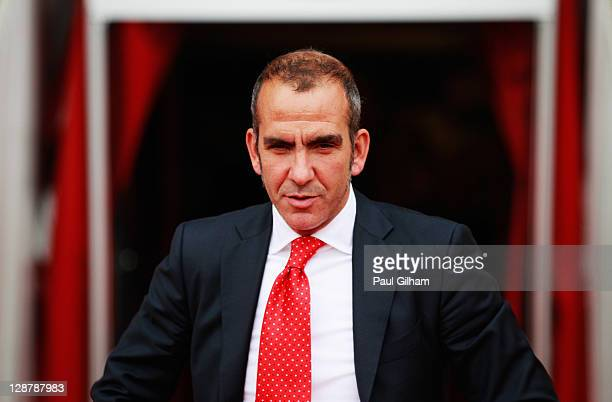 Swindon Town manager Paulo Di Canio looks on from the bench prior to the start of the npower League Two match between Swindon Town and Hereford...