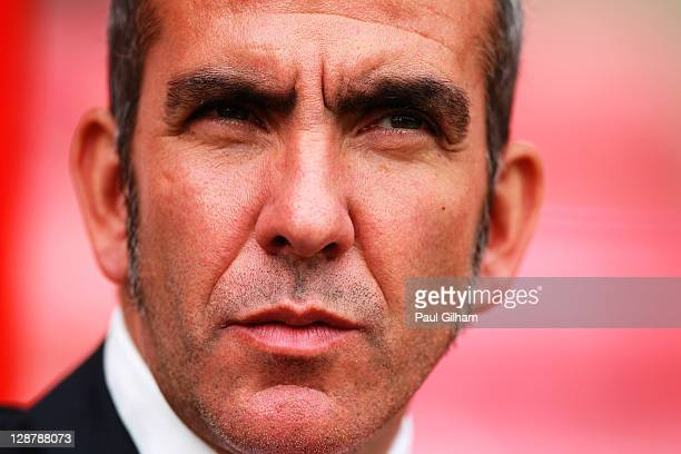 Swindon Town manager Paulo Di Canio looks on prior to the start of the npower League Two match between Swindon Town and Hereford United at the County...