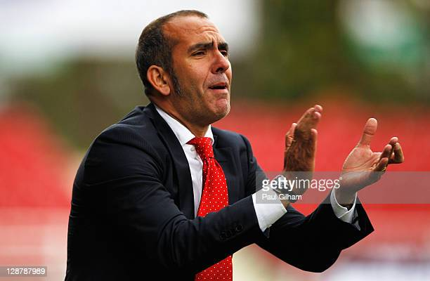 Swindon Town manager Paulo Di Canio reacts on the touchline during the npower League Two match between Swindon Town and Hereford United at the County...
