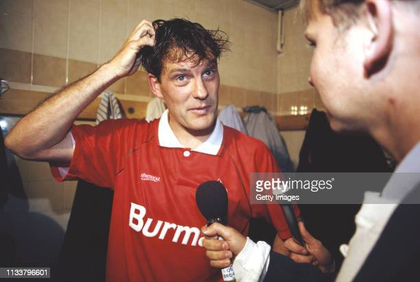 Swindon Town player manager Glenn Hoddle is interviewed in the dressing room after a match circa 1993 in Swindon, United Kingdom.