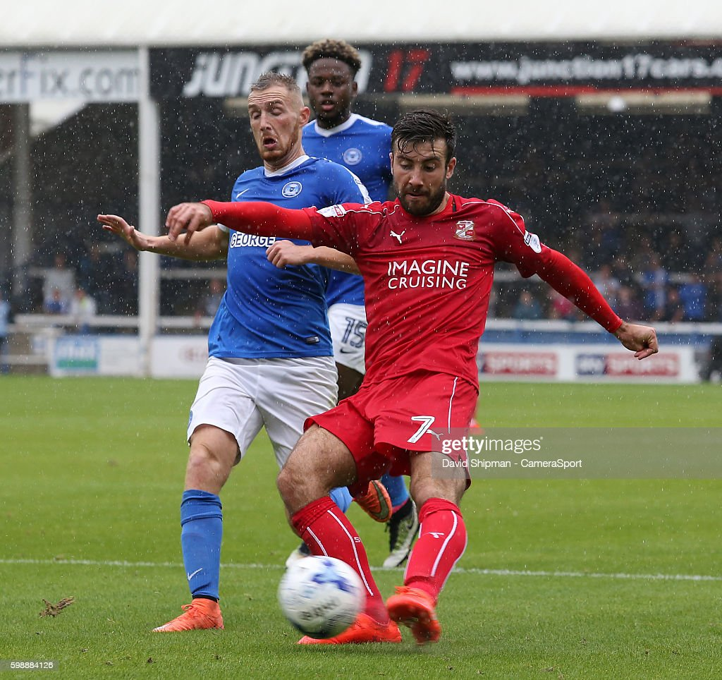 Swindon Town's Michael Doughty scores his sides second goal (via a deflection) during the Sky Bet League One match between Peterborough United and Swindon Town at ABAX Stadium on September 3, 2016 in Peterborough, England.