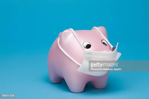 swine flu concept, toy pig wearing flu mask - funny surgical mask stock pictures, royalty-free photos & images