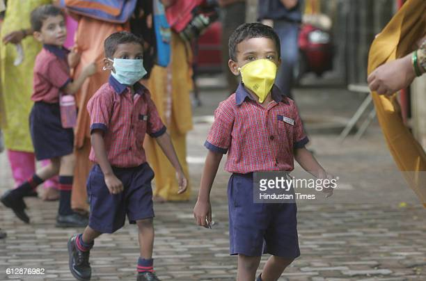 Swine Flu in Mumbai School students comes out of class after government delcare 8 days holidays for schools and classes at Dadar