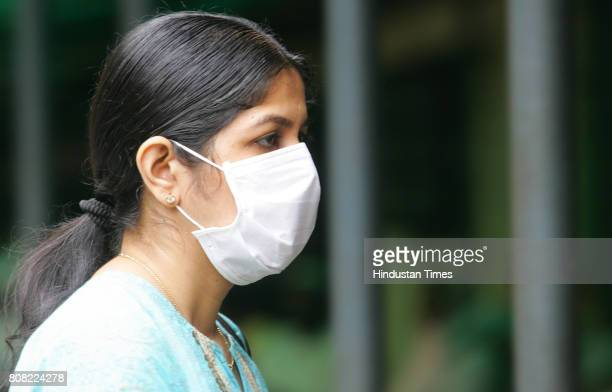 Swine Flu People wearing mask to avoid swine flu infection at Kasturba Hospital Aurther road Mumbai