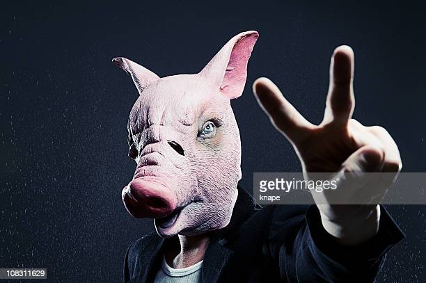 Swine making peace-sign