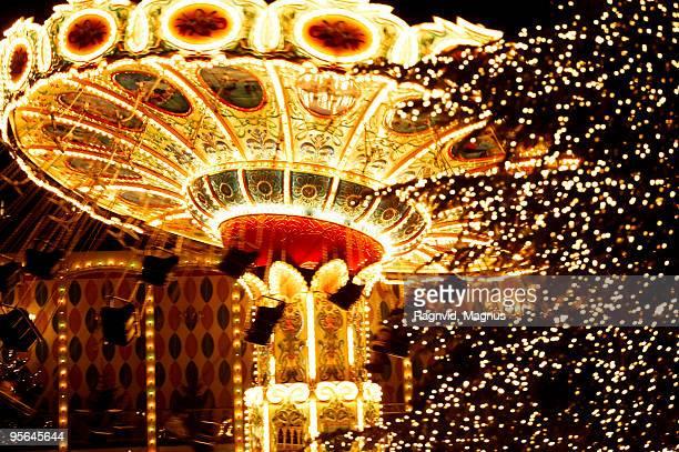 A swing at an amusement park, Copenhagen, Denmark.