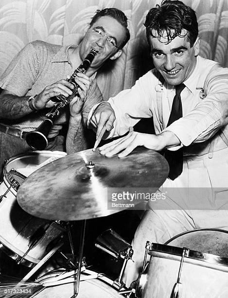 Swing band leader and clarinetist Benny Goodman and drummer Gene Krupa play swing for jitterbugging