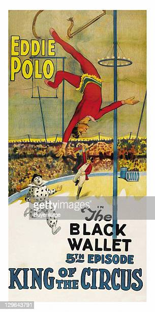Swing breaks and acrobat falls to a running clown ringmaster on a poster that advertises the movie 'King of the Circus Black Wallet' 1920