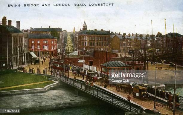 Swing Bridge and London Road, Lowestoft, Suffolk, England. Traffic and pedestrians. Tinted postcard, late 19th century / early 20th century.