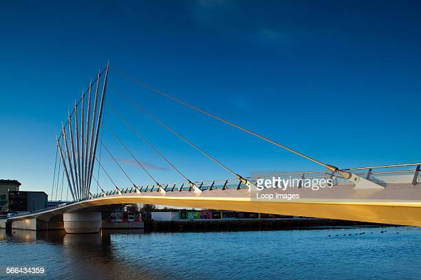 Swing bridge located near Media City UK on the Salford Quays in the city of Salford near Manchester Old Trafford