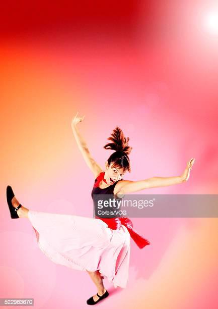 Swing dancer kicking