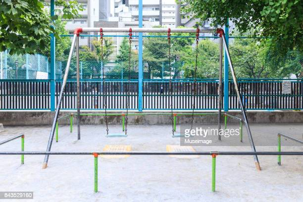 swing in matsuba park - leisure equipment stock pictures, royalty-free photos & images