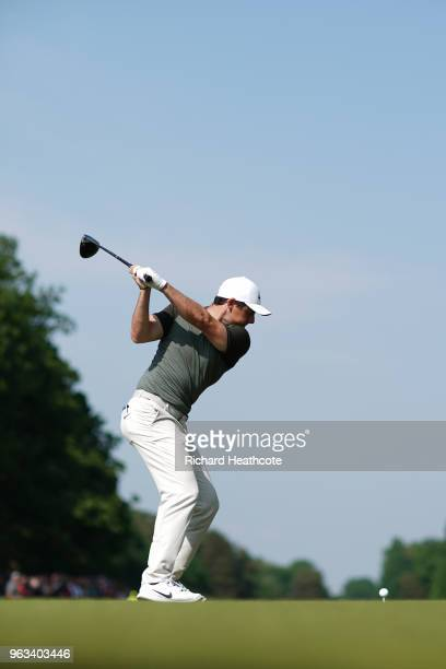 Swing Sequence frame 7 of 12 Rory McIlroy of Northern Ireland hits a driver off the 15th tee during the third round of the BMW PGA Championship at...