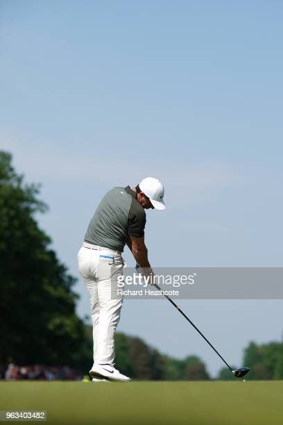 Swing Sequence frame 9 of 12 Rory McIlroy of Northern Ireland hits a driver off the 15th tee during the third round of the BMW PGA Championship at...