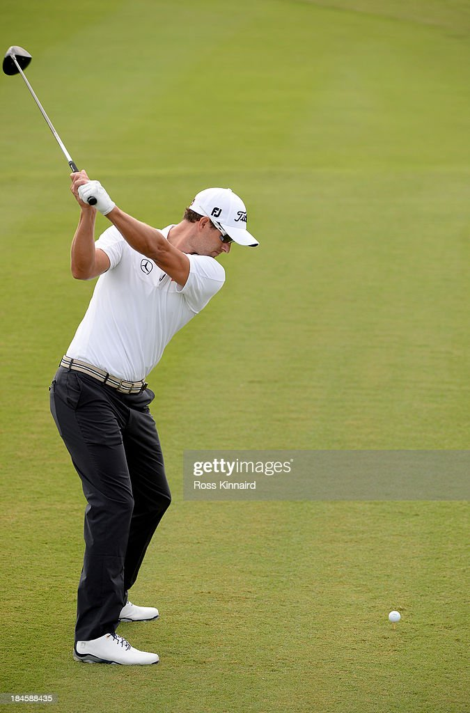 A Swing Sequence Of Adam Scott Of Australia In Action During