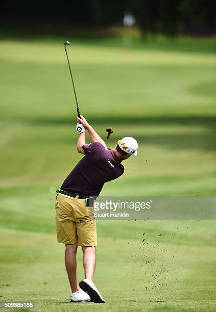 Swing sequence of Robert Dinwiddie of England prior to the start of the Tshwane Open at Pretoria Country Club on February 10 2016 in Pretoria South...