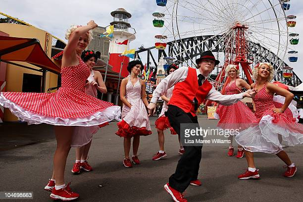 Swing Time dance troop members perform during the 75th anniversary celebrations at Luna Park on October 4 2010 in Sydney Australia Artist Rupert...