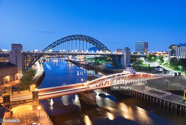Swingbridge and Tyne Bridge Newcastle at Night