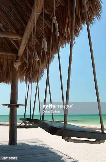 Swings at the beach hut on Holbox Is. Mexico